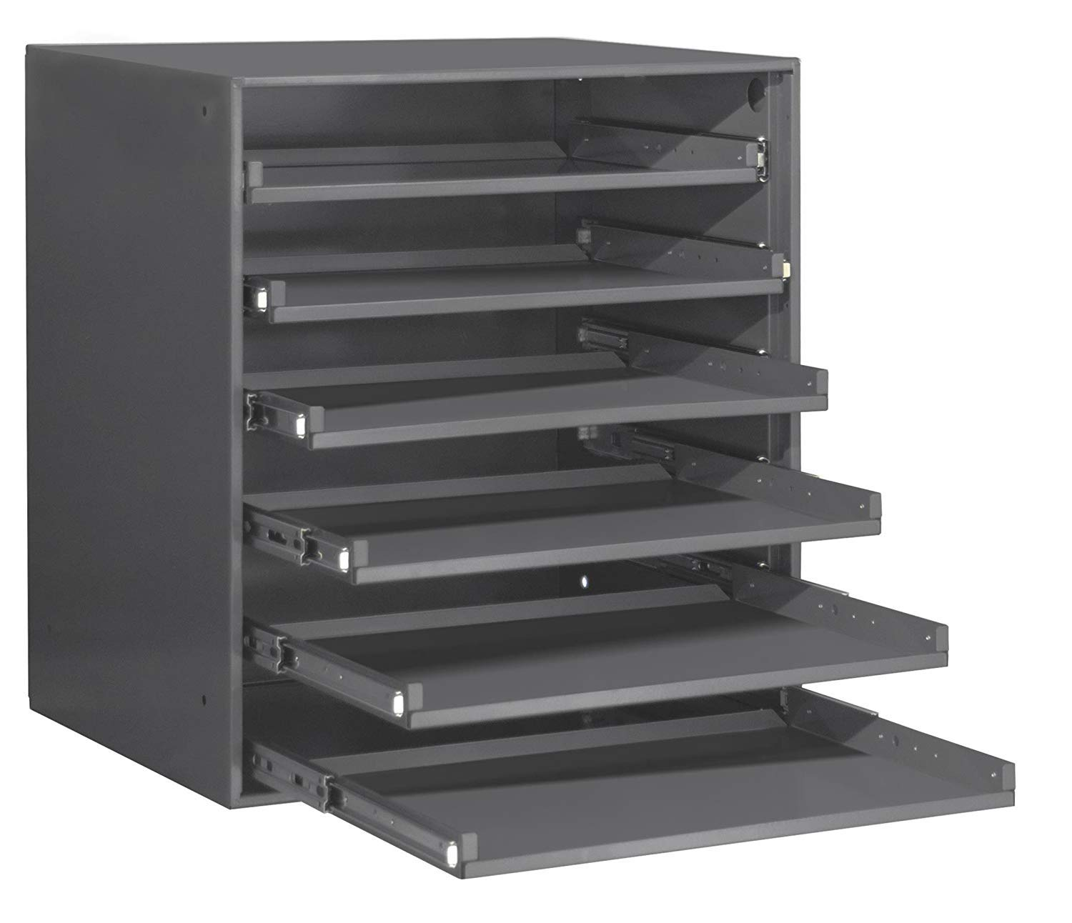 Durham 321B-95 Heavy Duty Bearing Slide Rack Without Door (Holds 6 Large Compartment Boxes), 20-5/16'' x 15-15/16'' x 21-7/8'' (Pack of 1)