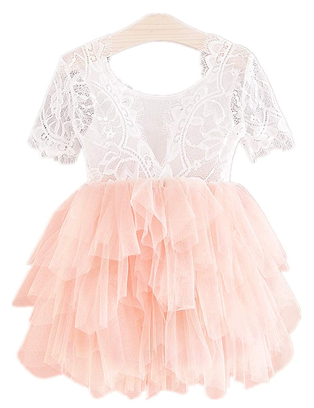 2Bunnies Girl Rose Lace Back A-Line Tutu Tulle Party Flower Girl Dresses