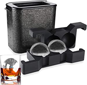 ROTTAY Whiskey Ice ball Maker - Crystal Clear Ice Ball Mold - Large Clear Round Ice Duo for Whiskey, Cocktail, Brandy (Ball)
