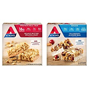 Atkins Protein Meal Bar, Peanut Butter Granola, 5 Count & Atkins Snack Bar, Cranberry Almond, 5 Count