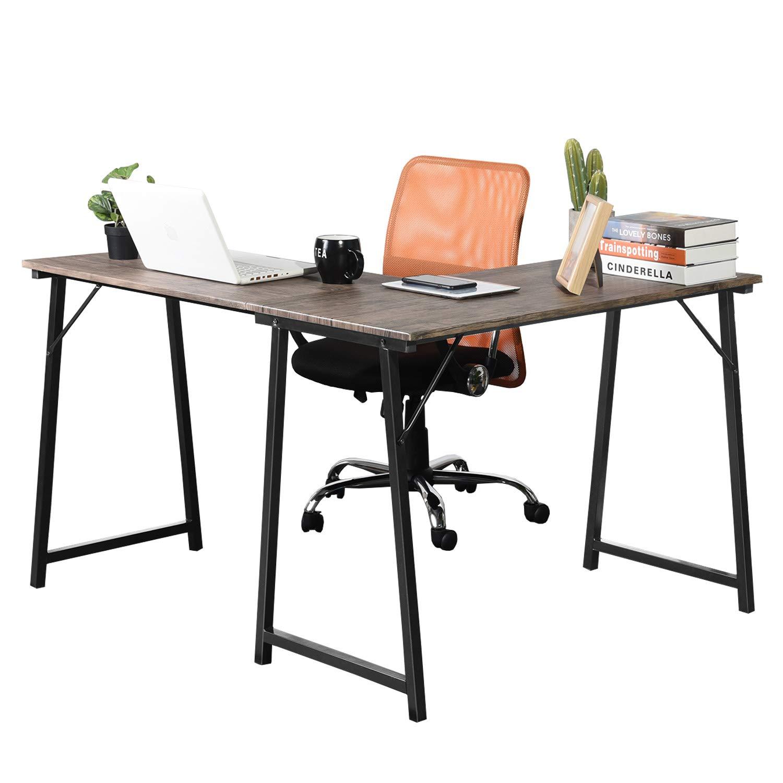 GreenForest Corner Desk L Shaped Computer Desk PC Latop Table Workstation for Home Office, Walnut by GreenForest (Image #1)