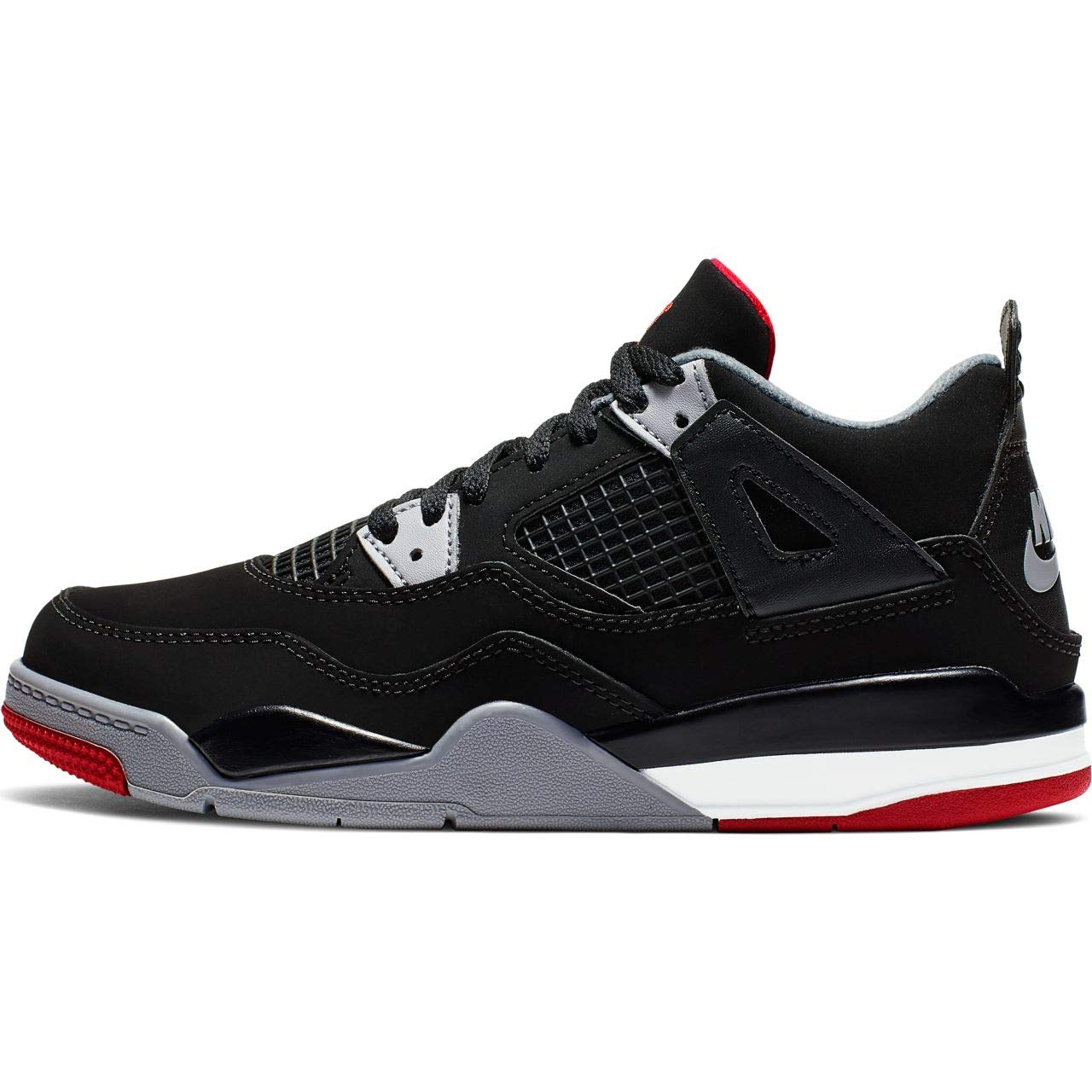 Air Jordan Retro 4''Bred Black/Fire Red-Cement Grey (PS) (2.5 M US Little Kid)