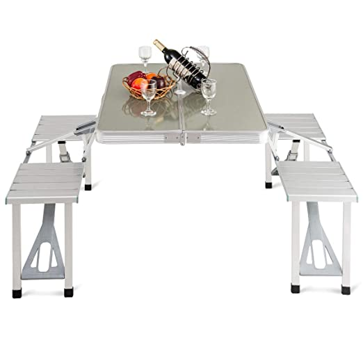 Giantex Plegable de Aluminio Mesa de Picnic portátil Interior al ...