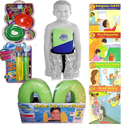 Summertime Learn and Be Safe Fun 'n The Sun Toys, Books, Swim Aids Childrens Gift Bundle Set of 8 [8 Piece] -  JA-RU, Scholastic, Swimways Corp., Davco International