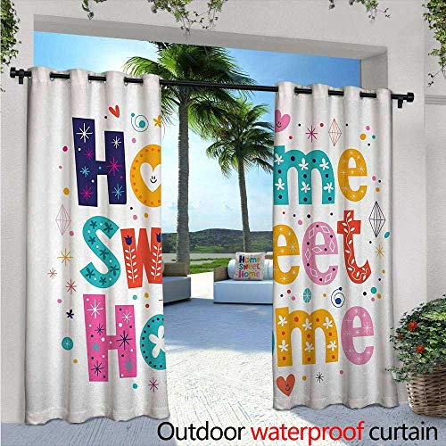 (BlountDecor Home Sweet Home Balcony Curtains Typography Lettering in Lively Colors and Floral Elements Diamonds Hearts Outdoor Patio Curtains Waterproof with Grommets W120 x L108 Multicolor)