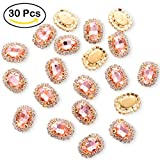 big clear gems - 30Pcs Crystal Rhinestones Sewing on, Premium Rose Gold Flatback Beads Buttons with Bling Diamond, DIY Craft Gems for Clothes Garment, Clothing, Bags, Shoes, Dress, Wedding Party Decoration (Rose Gold)
