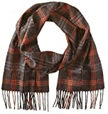 Phenix Cashmere Men's Window Pane Overcheck Scarf, Pine Cone/Ember, One Size