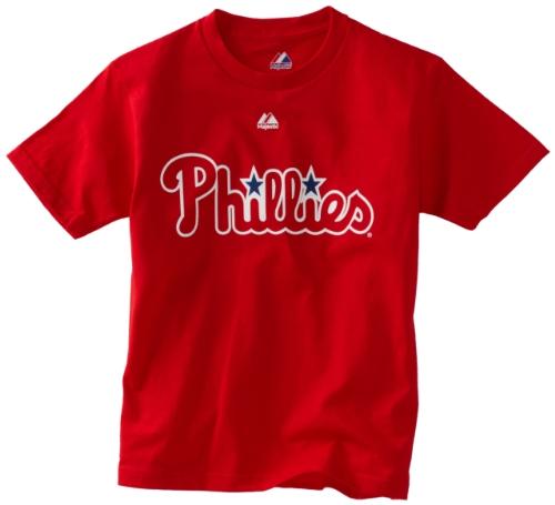 Phillies Shirt Classic Philadelphia - MLB Boys' Philadelphia Phillies Official Wordmark Short Sleeve Basic Tee by Majestic (Athletic Red, Medium)