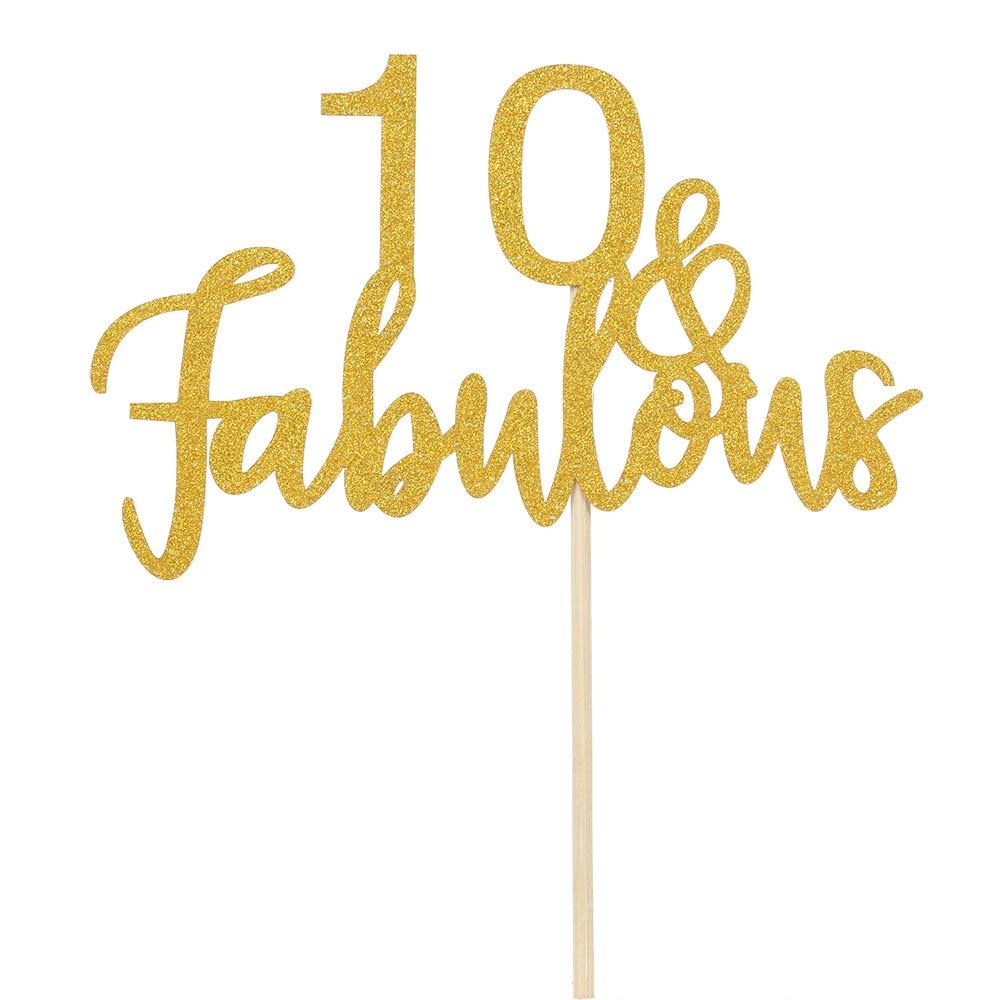 10 /& Fabulous Cake Topper Gold Glitter Hello 10 Happy 10 Birthday Cake Topper 10th Birthday//Wedding Anniversary Party Decoration
