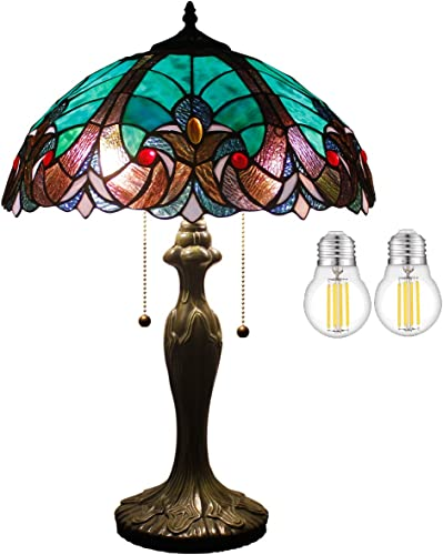 Tiffany Style Stained Glass Table Lamp W16H24 Inch 2LED Bulb Included Green Liaison Shade S160G WERFACTORY Lamps Lover Living Room Bedroom Coffee Bar Reading Light Bedside Desk Antique Craft Gift