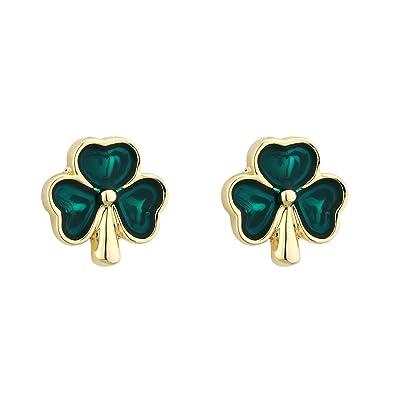 dde7641be Gold Plated & Enamel Tiny Shamrock Stud Earrings-Irish Made: Amazon.co.uk:  Jewellery