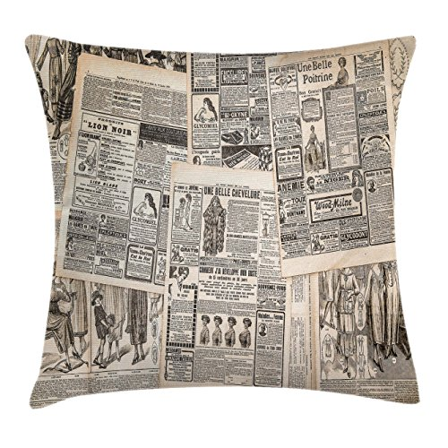 Newspaper Cover (Retro Throw Pillow Cushion Cover by Ambesonne, Vintage French Newspaper Background Nostalgic Antique Dated Past Artful Design, Decorative Square Accent Pillow Case, 16 X 16 Inches, Cream Tan Taupe)