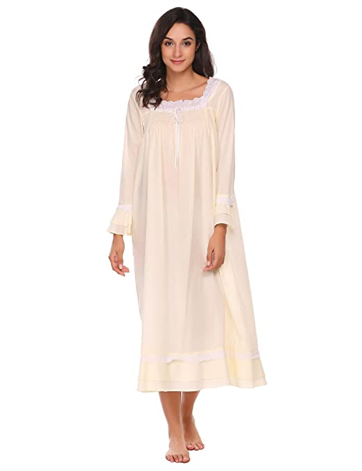 Vintage Inspired Nightgowns, Robes, Pajamas, Baby Dolls Skylin Women Square Neck Long Sleeve Lace-Trimmed Loose Nighties Sleepwear Dress S-XXL $27.99 AT vintagedancer.com