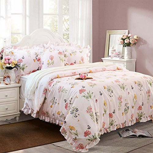 FADFAY Butterfly Duvet Covers Pink Floral Bedding Cotton Twin Extra Long Girls Bedding Set with Ruffle 3 Pieces, 1duvet Cover & 2pillowcases (Twin XL Size, Ruffle Style)