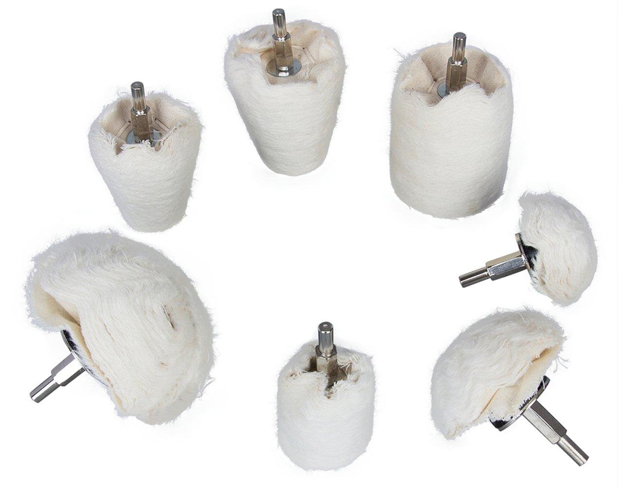plastica vetro gioielli per metallo alluminio ecc. in flanella di cotone bianca ceramica 7 rotelle di lucidatura per trapano cromato acciaio inox legno
