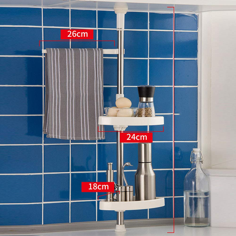 Shelf Storage Racks Wall Kitchen Tripod Double Layer Wall Hanging Punch Free Adjustable Telescopic Spice Rack Cupboard Organizers Cutlery Racks ZHAOYONGLI by ZHAOYONGLI-shounajia (Image #2)