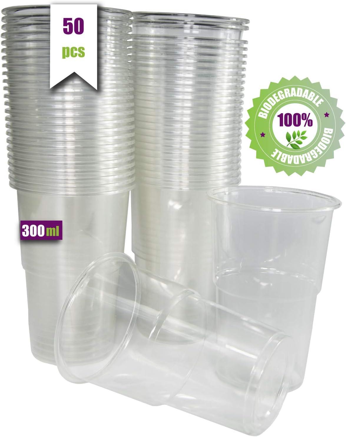 50 vasos de 300 ml. Vasos desechables biodegradables de plástico orgánico. Vasos PLA transparentes para bebidas frías, Vasos ecológicos y compostables para fiestas, campings, eventos y cumpleaños.