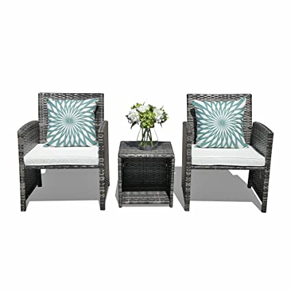 Orange Casual   Outdoor 3 Pieces Bistro Wicker Rattan Sets Patio Furniture  Sets, Coffee Table
