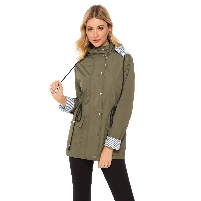bedee Women's Raincoats Windbreaker RainJackets Lightweight Waterproof Ourdoor Hooded Trench Coats