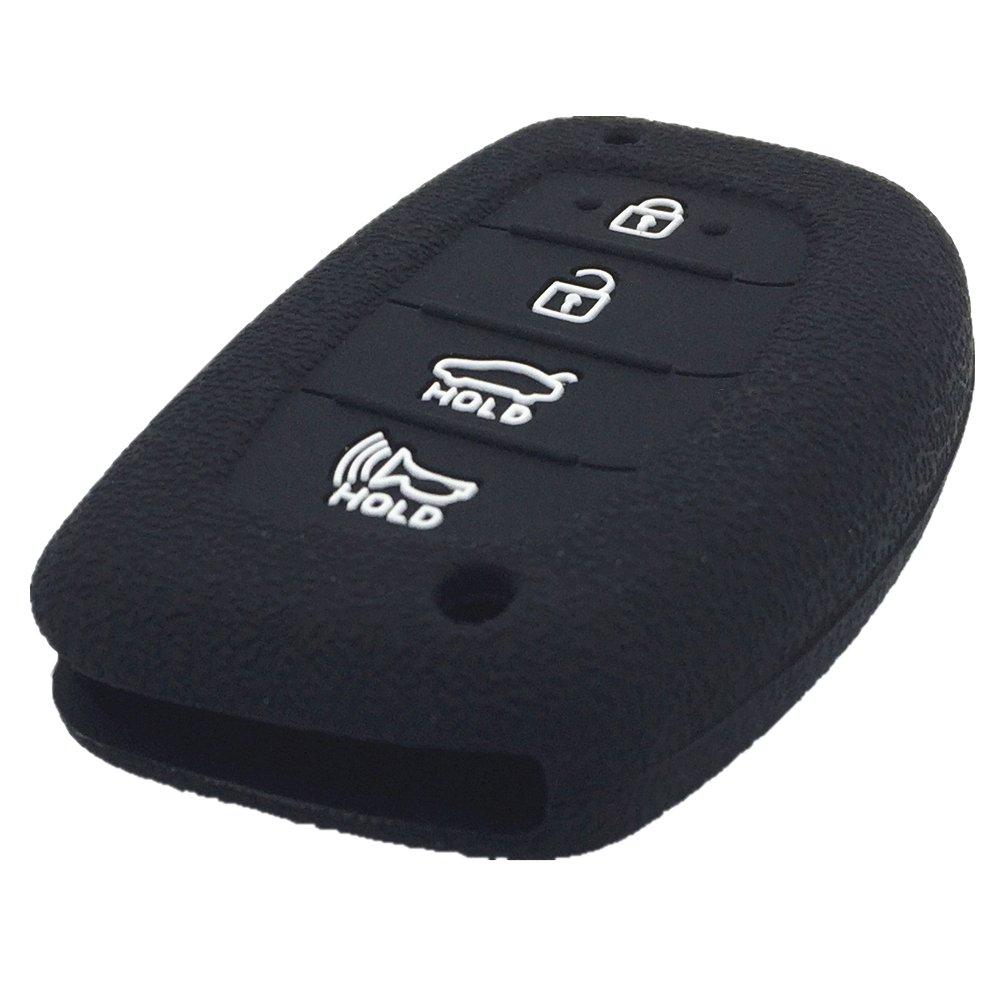 Ezzy Auto A Pair Black Silicone Rubber Key Fob Case Key Covers Key Jacket Skin Protector fit for Hyundai Elantra Sonata Tucson