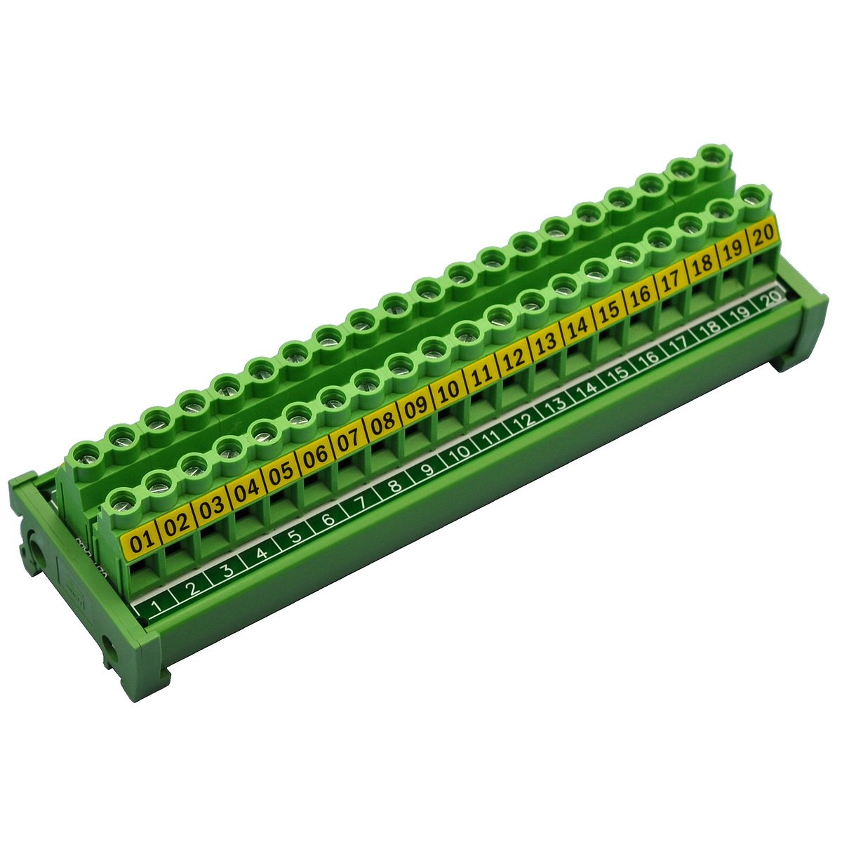 Electronics-Salon DIN Rail Mount 20 Position 30A/300V Screw Terminal Block Distribution Module. by Electronics-Salon