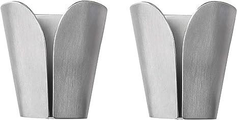 2x Rustproof Tea Hand Towel Holders Self Adhesive Hooks Rack Brushed Hanger Home