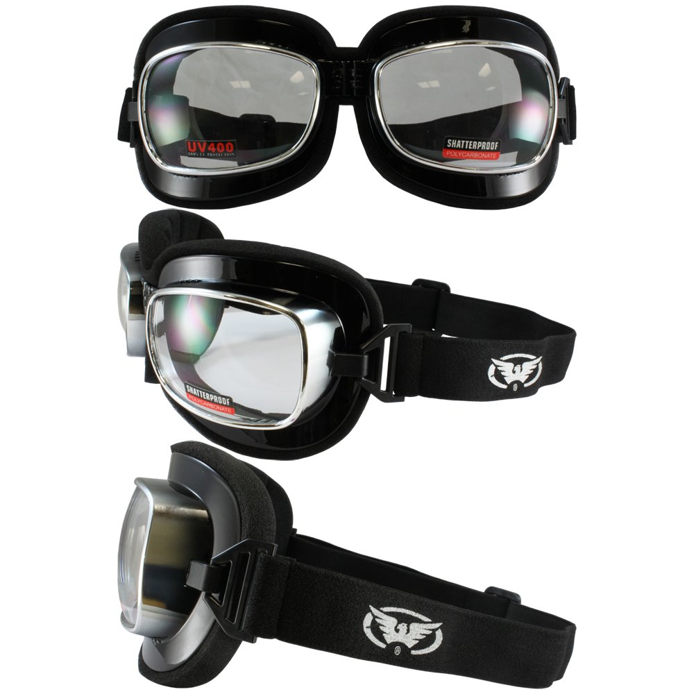 Aviator Goggles Black Padded Frame w// Yellow Lens Red Baron Motorcycle