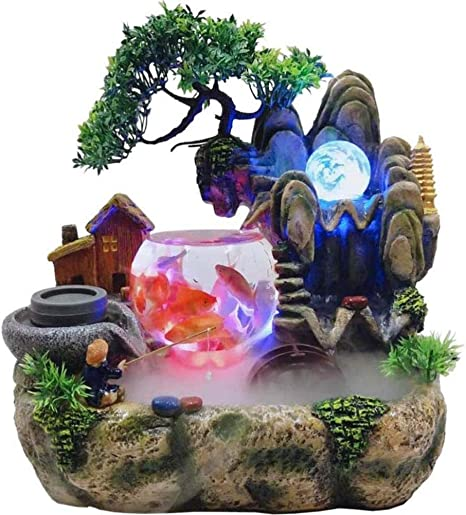 Mini Indoor Desktop Waterfall Fountain Rockery Humidifier Water Fountain Decoration with Color Changing Led Lighting Tabletop Water Fountain Submersible Pump for Home Office Shop Decor