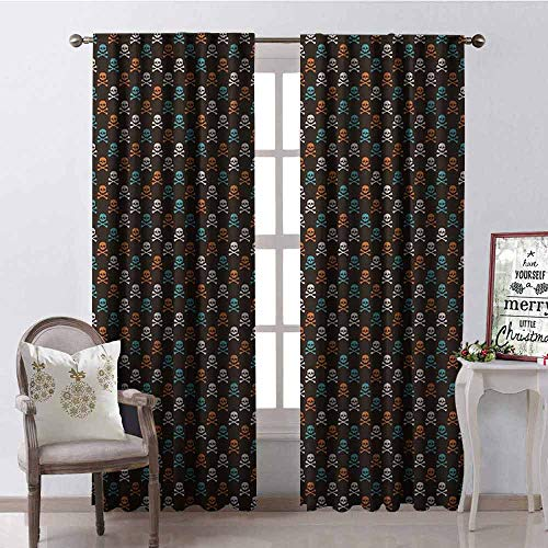 GloriaJohnson Pirates Shading Insulated Curtain Different Colored Graphic Skull Figures with Bones on Black Background Halloween Soundproof Shade W42 x L90 Inch Multicolor]()