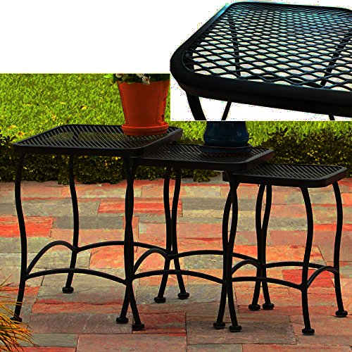 Outdoor Nesting Tables Metal Iron Black Curved Meshed 3 Piece Side Table Set  Large To