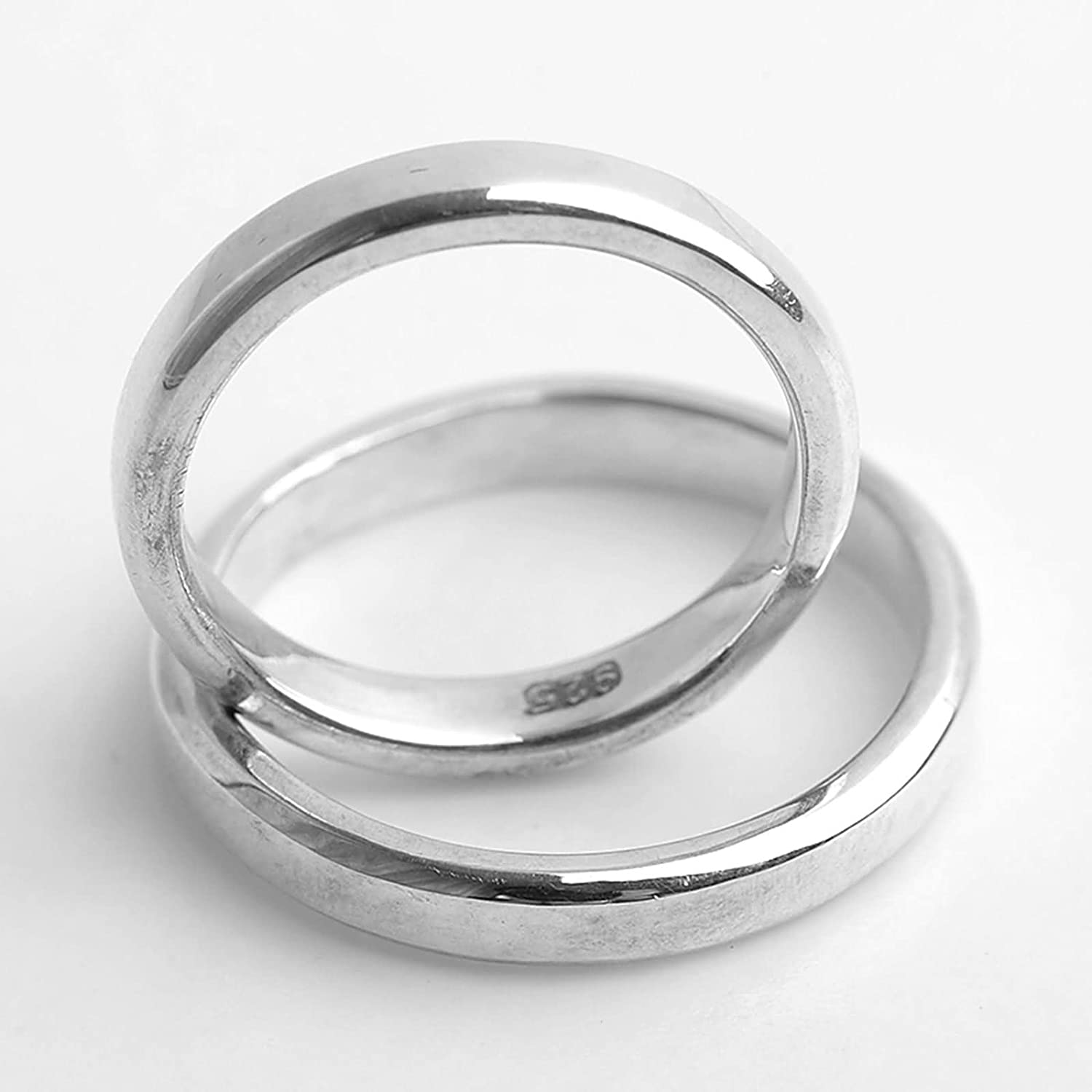 Bishilin Silver Plated Mens Ring Smooth Round Width 3.1MM Friendship Rings Silver Size 4.5