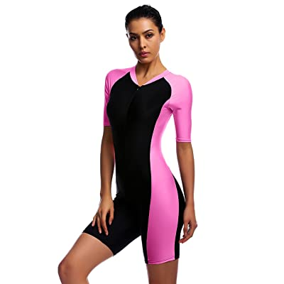 .com : BELLOO Swimsuit for Women One Piece Short-Sleeve Surfing Suit Sun Protection : Clothing