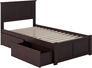 Atlantic Furniture Nantucket Platform Bed with 2 Urban Bed Drawers, Twin, Espresso