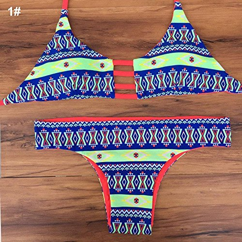 Banggood Sexy Gorgeous Color Printing Design Strapless Bikini Padded Bra Bathing Suit Beach Swimsuit Swimwear L-1#Triangle