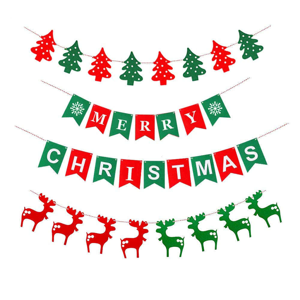 Merry Christmas Banner Christmas Party Hanging Garland Bunting Sign for Party Decoration Home Decor, 4 Pieces