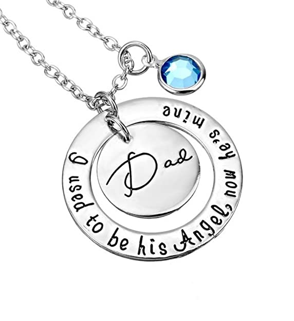 amazon glazed black cherry memorial dad i used to be his Li Na amazon glazed black cherry memorial dad i used to be his angel now he s mine charmed necklace tag father loss love pendant quote words blue