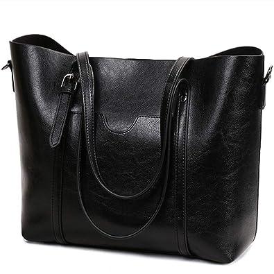 1a7aa4392e Leather Women s Tote Large Purse Handbag Vintage Style Soft Shoulder Bag  (Black)