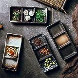 Japanese-style Three-grid Dish, Creative Table, Snack Dish, Dim Sum Dish, Hotel Hotel, Universal Multi-purpose Seasoning Ceramic Dish (Color : Set of 3)