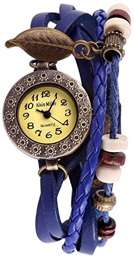 Alain Miller Mujer Reloj Reloj Mint verde piel pulsera 19 cm Azul Oscuro rp3705770001: Amazon.es: Relojes