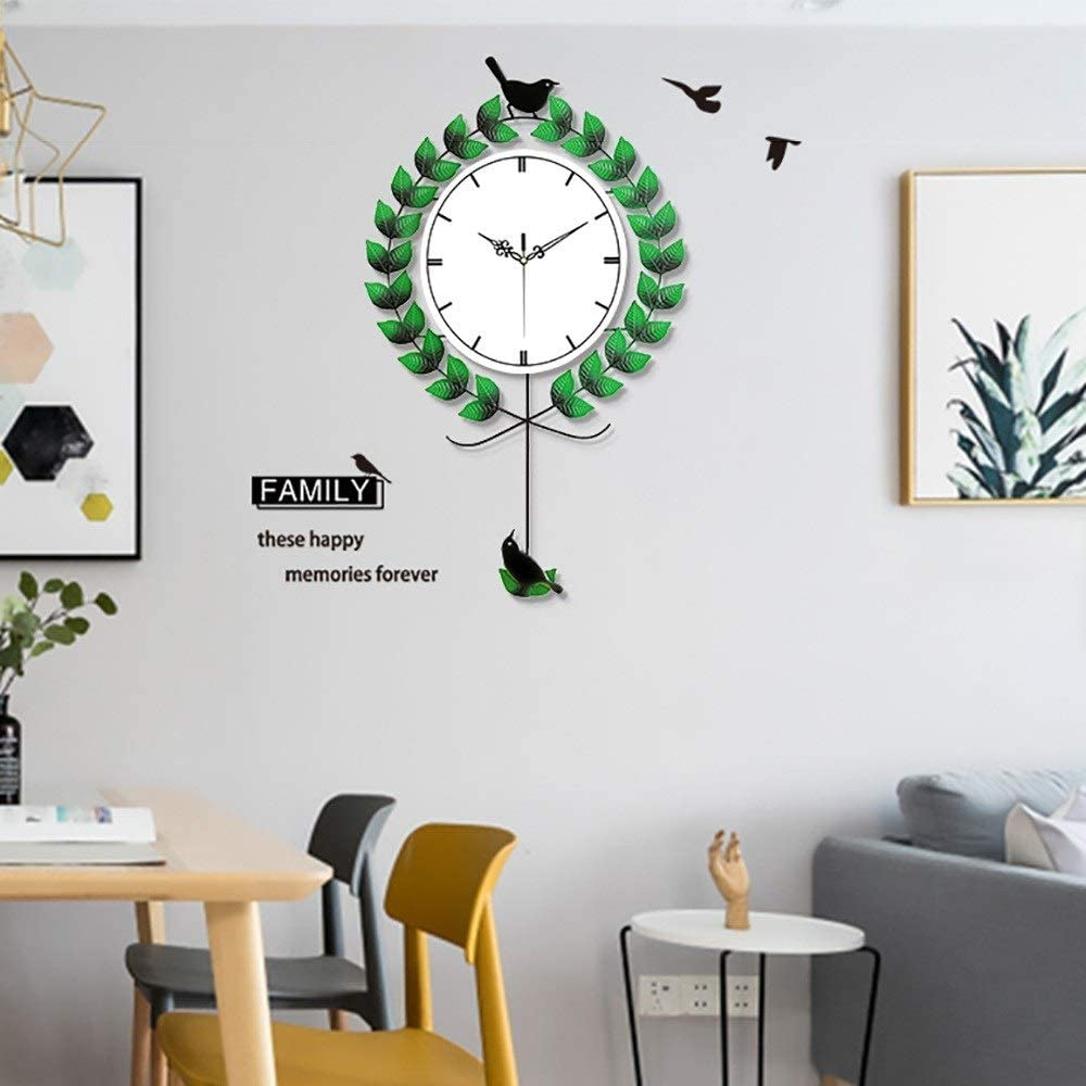 ETH Relojes Creativos Elegante Minimalista Sala De Estar Columpio Reloj De Pared Pájaro Sala De Estar Verde Mesa Colgante Dormitorio Decoración Reloj De Cuarzo Mudo Durable: Amazon.es: Hogar