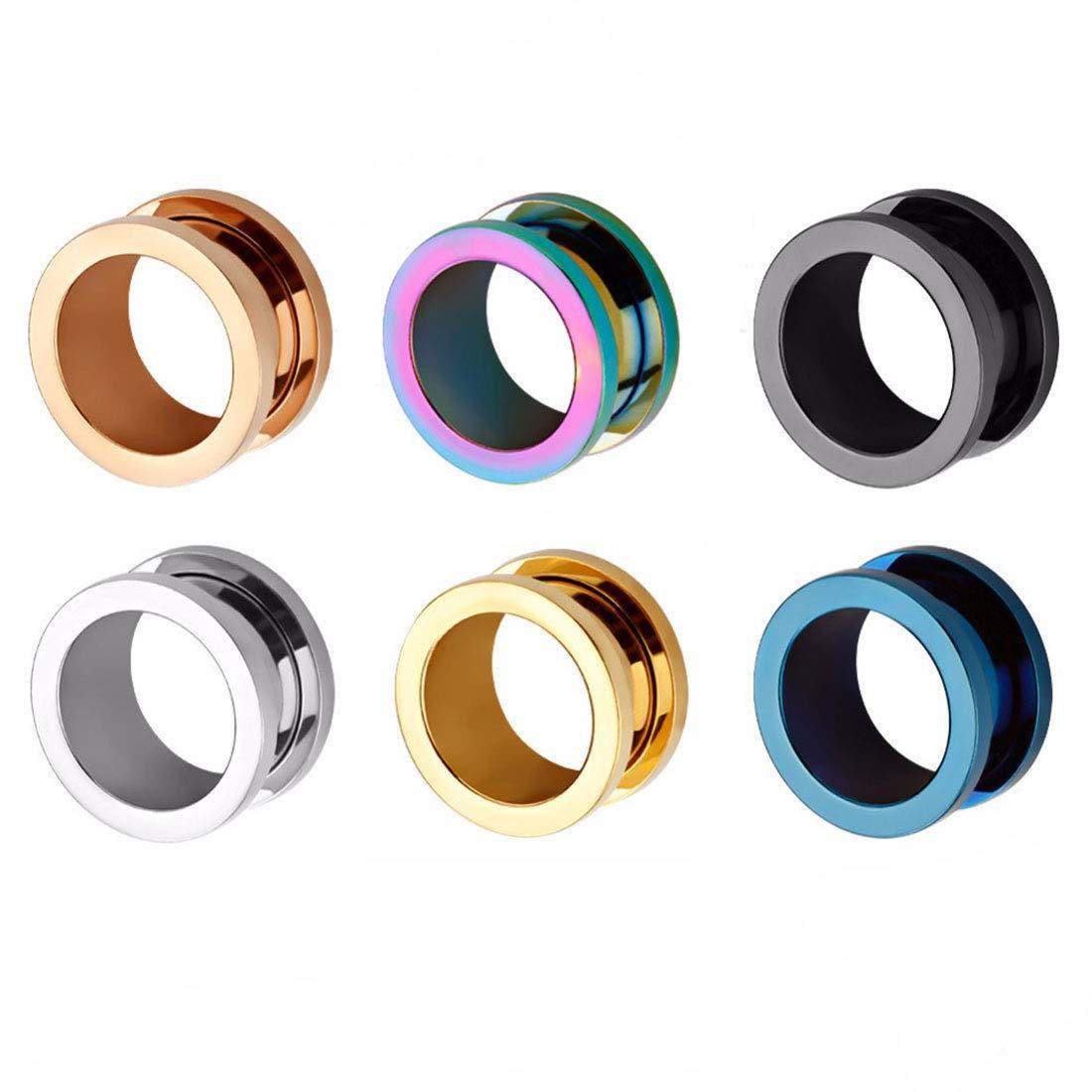 HuaCan 12 Piezas Expansores de Túnel de Oreja Dilatadores Dilatación Ear Plug Piercing Joyas con Borde de Acero Quirurgico Inoxidable Gauge 6-20 mm: ...