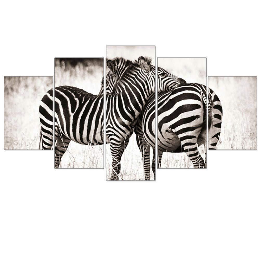 DH Murals impresión de Arte Lienzo Pintura de la Pared la de la Pared Lucha de la Sala de Estar de la Lucha de la Cebra 5 Blancos y Negros de Las Pinturas de Pared, Grande 50d4a1