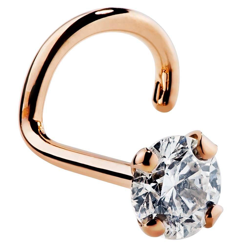 FreshTrends 3mm 0.1 ct. tw Diamond 14K Rose Gold Nose Ring Twist Screw 20G I1