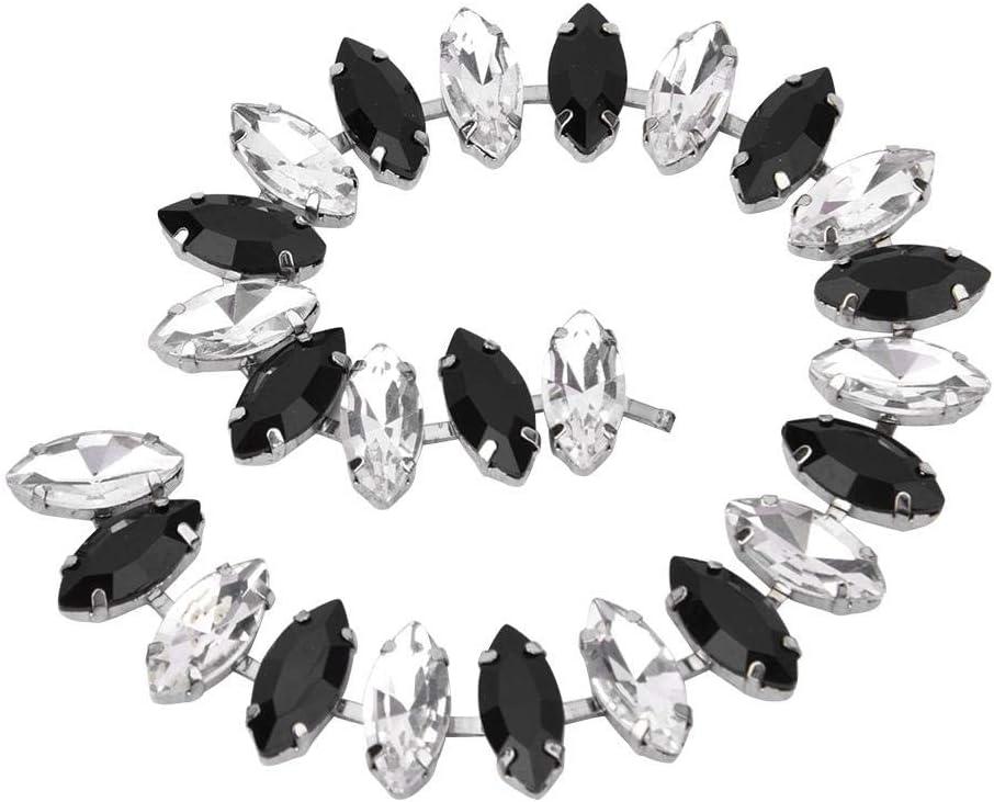 Atyhao Cadena de Diamantes de imitación, 7X 15 MM Cadena de Cristal Tira de Ojo de Caballo Coser en el Ajuste para la Ropa de Bricolaje Vestido de Novia Decoración(Rhinestone Blanco + Negro)