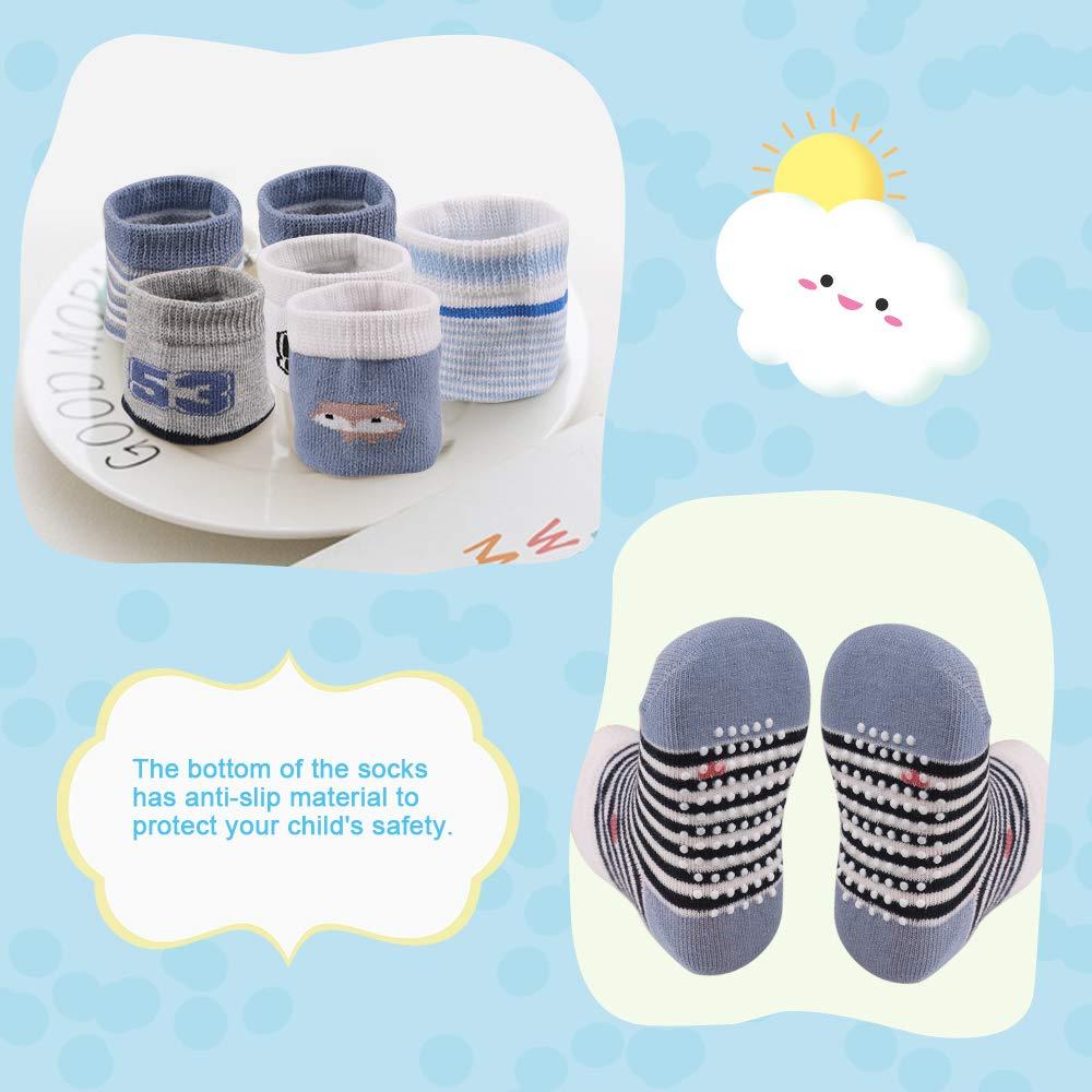 1-3 Year Blue//White//Black Cotton Boys Socks Lictin Baby Socks Non Skid Socks 12 Pairs Boys Girls Assorted Colored Socks