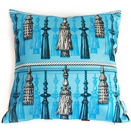 - Tassel Time Turquoise- 95% Cotton, 5% Spandex Cushion Cover