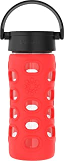 product image for Lifefactory 12-Ounce BPA-Free Glass Water Bottle with Classic Cap and Protective Silicone Sleeve, Apple Red