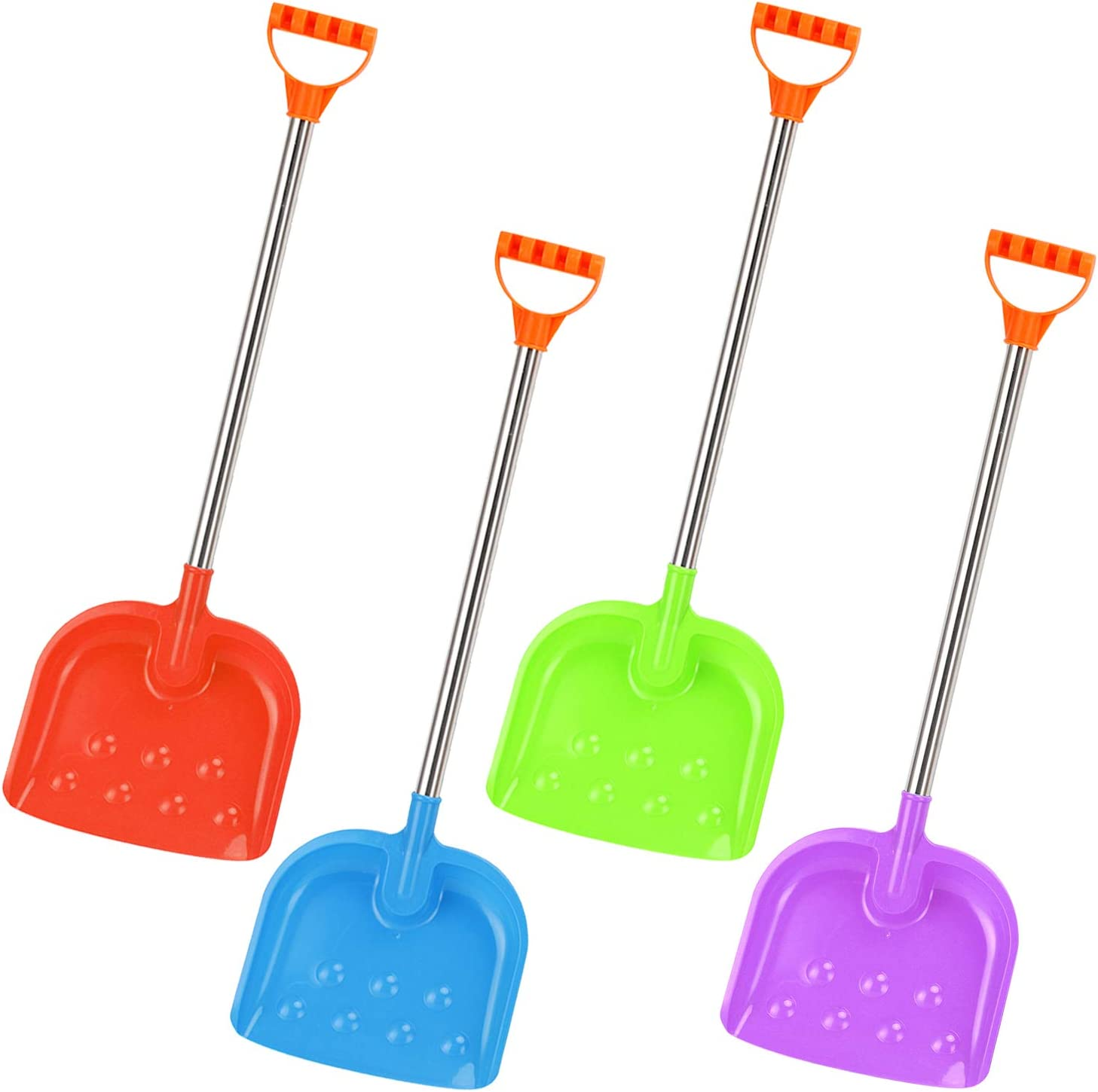4 Pack Liberty Imports 32-Inch Kids Large Heavy Duty Metal Snow Shovels with Plastic Scoop and Handle