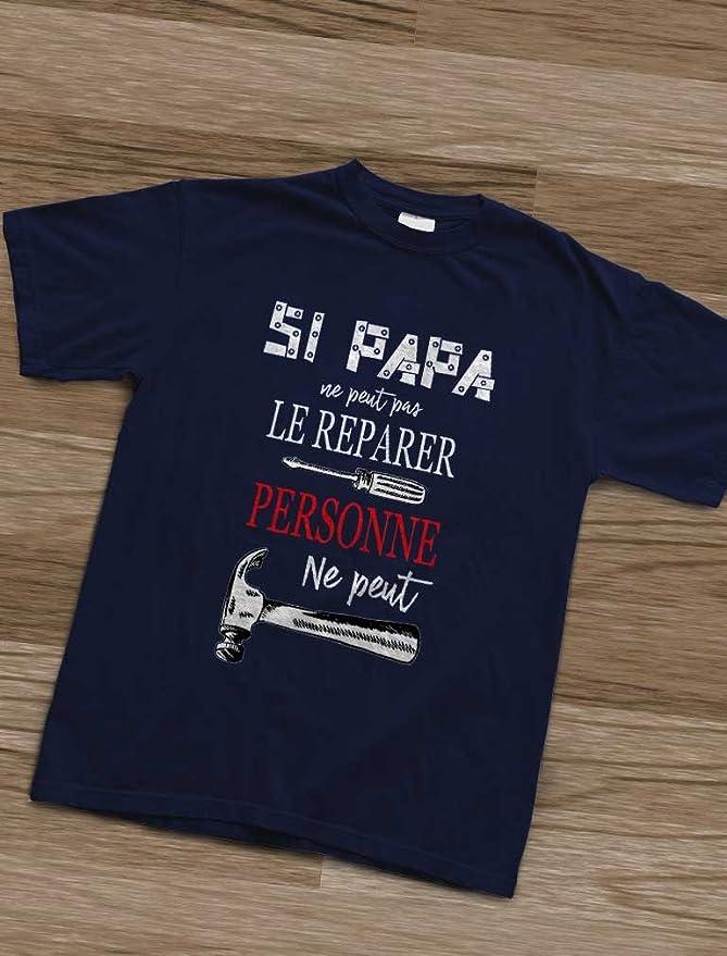 papa fête des pères fille mignon Aime papa autant personnalisé t-shirt garçon