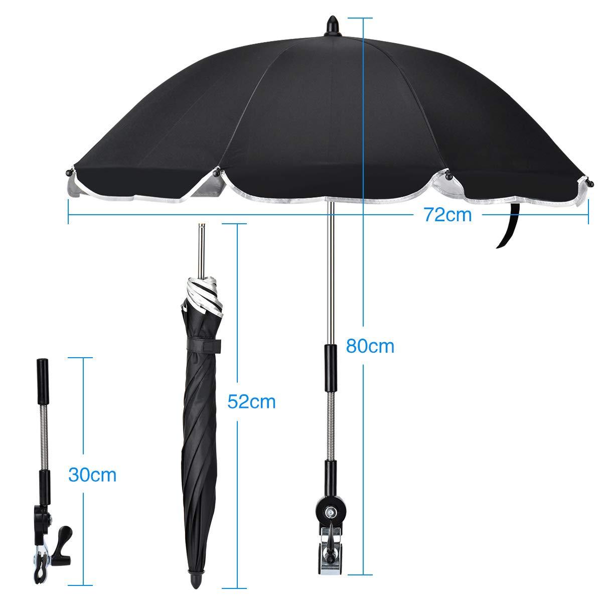 Kinderwagen-Sonnenschirme im Freien blockieren effektiv ultraviolette Strahlen und biegbare Regenschirme f/ür sonnige und regnerische Zwecke. Kinderwagen-Sonnenschirme Queta Sonnenschirme